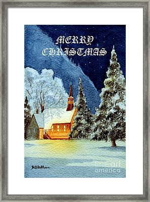 Merry Christmas Card Yosemite Valley Chapel Framed Print