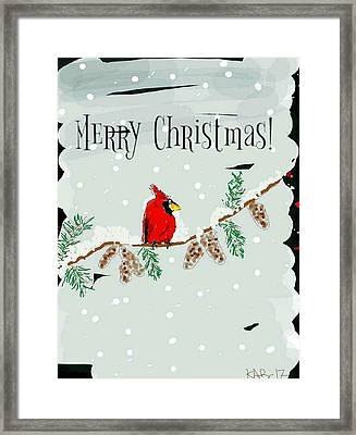 Merry Christmas Cardinal Framed Print