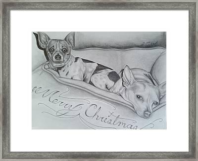 Merry Christmas Dogs Framed Print by Jason Mikrut