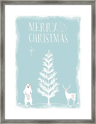 Merry Christmas Funky Animals  Framed Print by Amanda Lakey