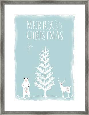 Merry Christmas Sketchy Scene Framed Print