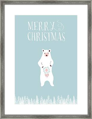 Merry Christmas Funky Bear Framed Print by Amanda Lakey