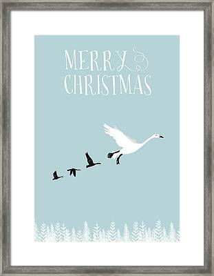 Merry Christmas Funky Geese Framed Print by Amanda Lakey