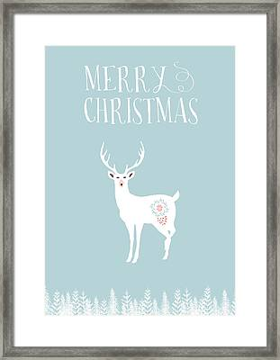 Merry Christmas Funky Stag Framed Print by Amanda Lakey