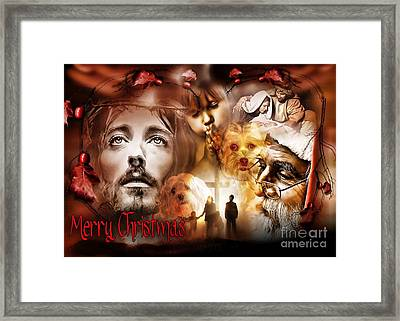 Framed Print featuring the digital art Merry Christmas by Kathy Tarochione