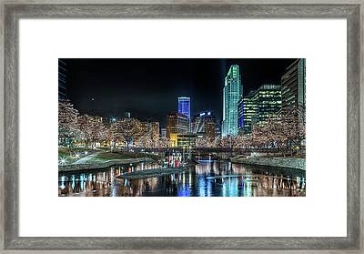 Framed Print featuring the photograph Merry Christmas Omaha by Susan Rissi Tregoning