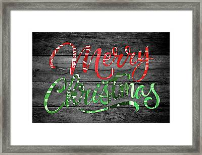 Merry Christmas Recycled Vintage License Plate Art Green And Red Wording Framed Print