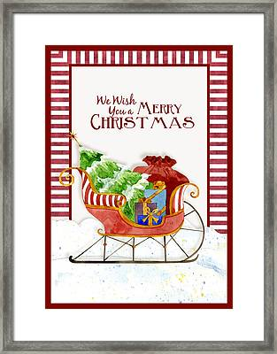 Merry Christmas Santa's Sleigh W Gifts In Snow Framed Print by Audrey Jeanne Roberts