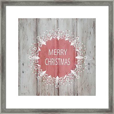 Merry Christmas Stencil Framed Print