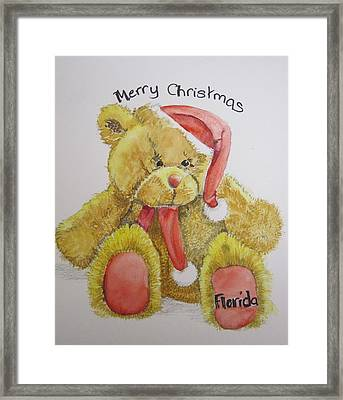 Merry Christmas Teddy  Framed Print