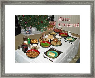 Merry Christmas- Traditional Lithuanian Christmas Eve Dinner Framed Print by Ausra Huntington nee Paulauskaite