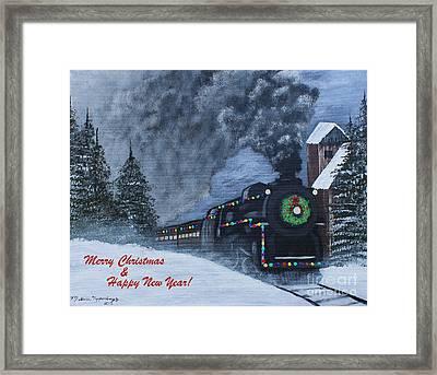 Merry Christmas Train Framed Print