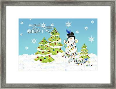 Merry Christmas Typography Snowman W Christmas Trees N Blue Birds Framed Print