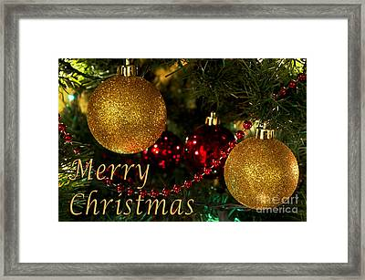 Merry Christmas With Gold Ball Ornaments Framed Print by Maria Janicki