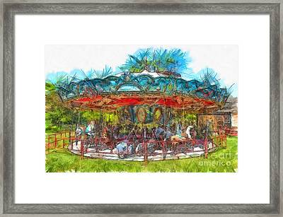 Merry Go Round Pencil Framed Print by Edward Fielding