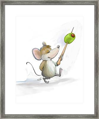 Merry Mouse Moe With Olive Framed Print