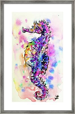 Framed Print featuring the painting Merry Seahorse by Zaira Dzhaubaeva