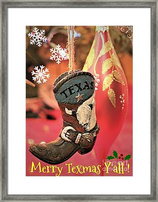 Merry Texmas Yall Framed Print by Diann Fisher