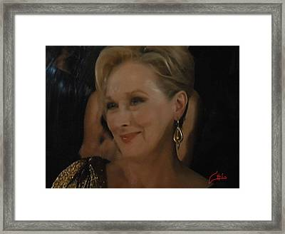 Meryl Streep Receiving The Oscar As Margaret Thatcher  Framed Print
