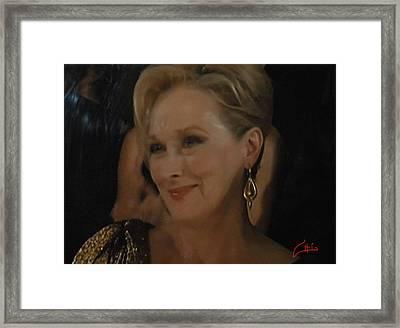 Meryl Streep Receiving The Oscar As Margaret Thatcher  Framed Print by Colette V Hera  Guggenheim