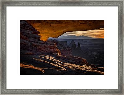 Framed Print featuring the photograph Mesa Arch Glow by Jaki Miller