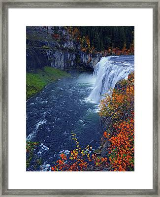 Mesa Falls In The Fall Framed Print
