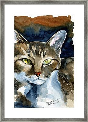 Mesmerizing Eyes - Tabby Cat Painting Framed Print