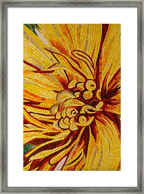 Mesmerizing Golds And Yellows - A Floral Ceramic Tile Mosaic Framed Print