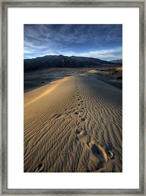 Mesquite Flats Footsteps Framed Print by Peter Tellone