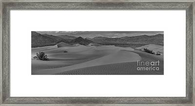 Mesquite Sand Dunes Black And White Panorama Framed Print by Adam Jewell