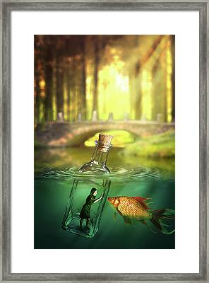 Framed Print featuring the digital art Message In A Bottle by Nathan Wright