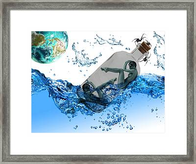 Message In A Bottle Framed Print by Solomon Barroa