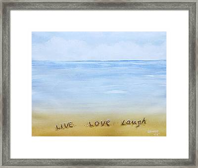Message In The Sand Framed Print by Edwin Alverio