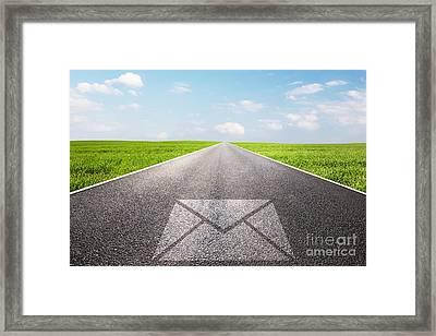 Message Symbol On Long Straight Road Framed Print by Michal Bednarek