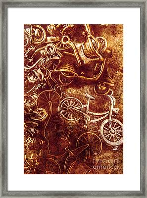 Messy Bike Workshop Framed Print