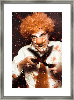 Messy Homicidal Clown In Bloody Horror Massacre Framed Print