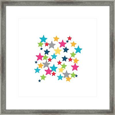 Messy Stars- Shirt Framed Print by Linda Woods