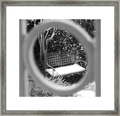 Metal Bench In Sedona Framed Print by Claudia Goodell