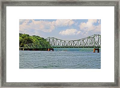 Metal Bridge Over A Lake Framed Print