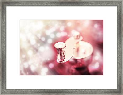 Metal Coffee-mill Handle On A Colorful Abstract Background Framed Print by Jozef Klopacka