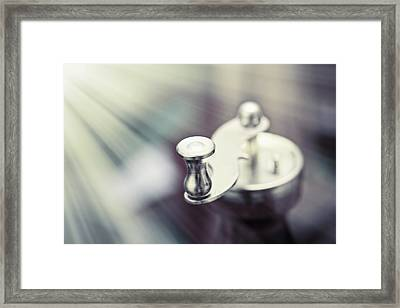 Metal Coffee Mill Handle On Abstract Background Monochromatic Framed Print by Jozef Klopacka