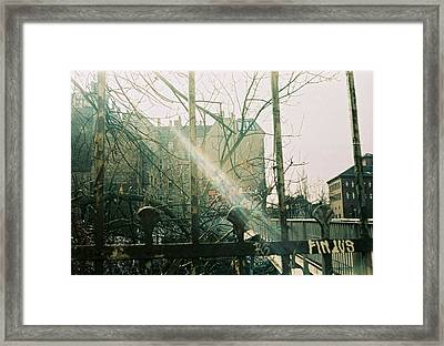 Metal Fence With Grafitti And Bridge Framed Print