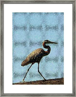 Framed Print featuring the photograph Metal Heron by Ellen O'Reilly