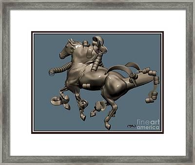 metal horse statue 40MHS1 Framed Print by Pemaro