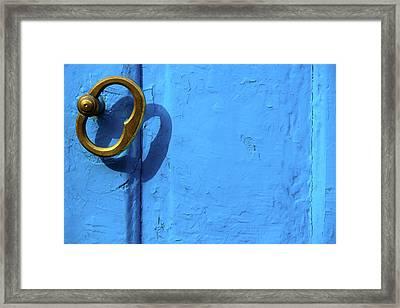 Metal Knob Blue Door Framed Print by Prakash Ghai