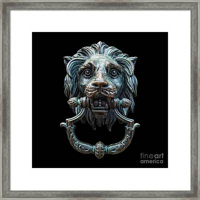 Framed Print featuring the photograph Metal Lion Head Doorknocker Isolated Black by Antony McAulay