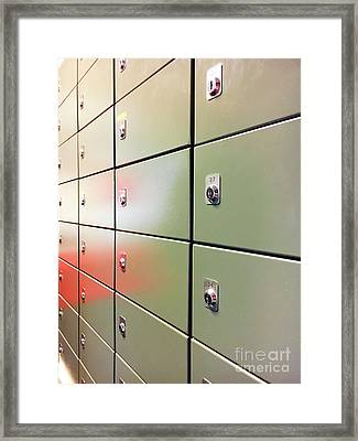 Metal Mail Lockers Framed Print