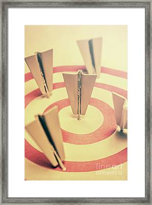 Metal Paper Planes In Target, Business Aims Framed Print by Jorgo Photography - Wall Art Gallery