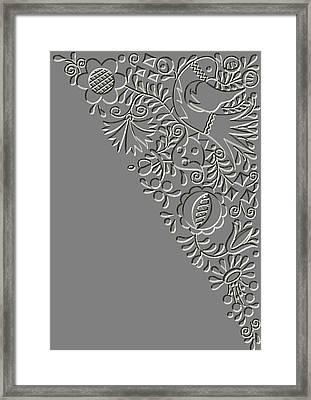 Metal Relief Moravian Folk Ornament Framed Print by Miroslav Nemecek
