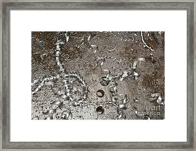 Metal Shavings On Floor Framed Print by Shannon Fagan